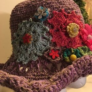 Lavender Hat w/embroidered designs