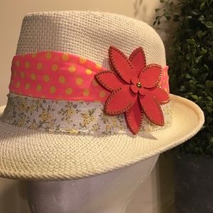 Accessories - Cream and Orange/Pink • Fedora Hat