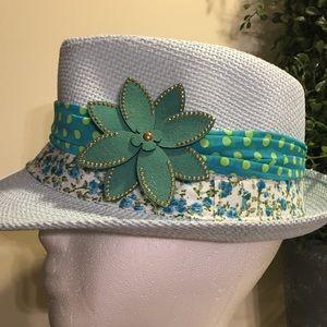 Accessories - Baby Blue & Green Fedora Hat