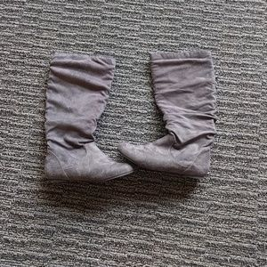 Journee Collection Shoes - Gray pull on boots