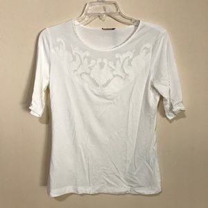 Gerry Weber Tops - White Applique Flower T-Shirt by GERRY WEBER