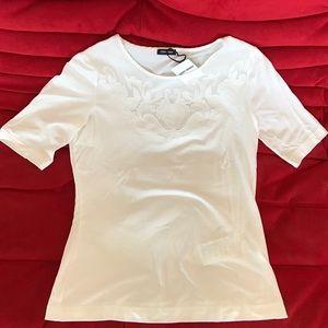 Gerry Weber Tops - White Applique Flower T-Shirt by GERRY WEBER