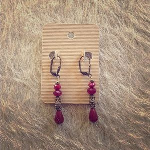 Anthropologie Jewelry - Deep red and vintage gold drop earrings