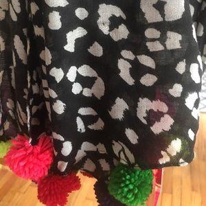 Betsey Johnson leopard scarf with Pom poms