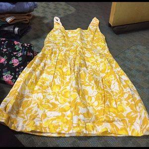 Yellow flower mini dress