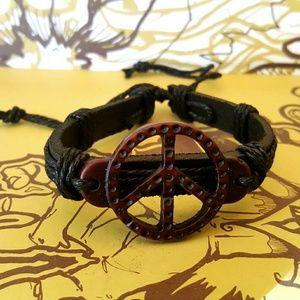 Festival Bracelets Vegan Leather Peace Ohm craft