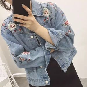 Denim embroidered vintage jacket flowers jean