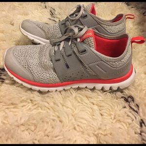 Reebok grey and coral sneakers