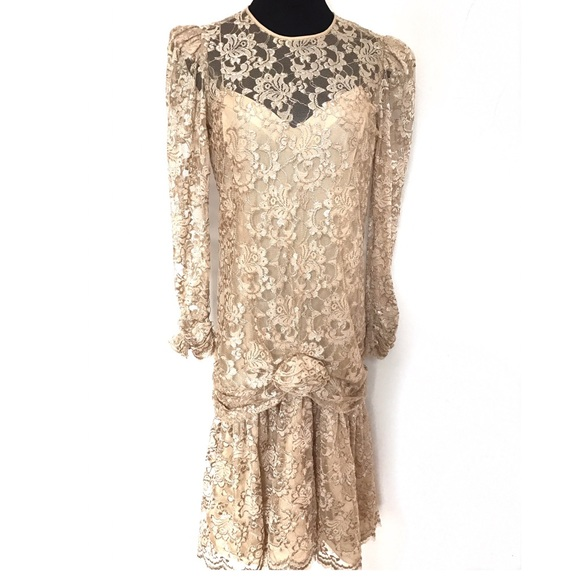 Vintage Dresses - Vintage Drop Waist Lace Dress