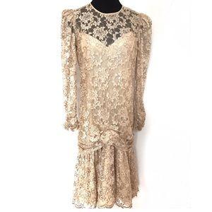 Vintage Dresses & Skirts - Vintage Drop Waist Lace Dress