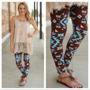Infinity Raine Pants - Brown and blue/teal Aztec print soft leggings