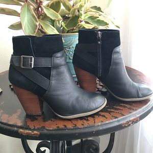Sole Society Shoes - Sole Society Black Leather & Suede Bootie