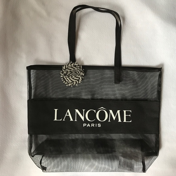 37fb4803f78a8 Lancôme large mesh tote logo black beach bag new. NWT. Lancome