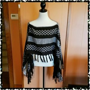 Black and white Poncho sweater