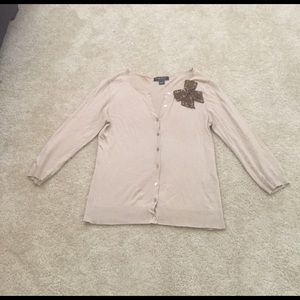 august silk Sweaters - Beige 3/4 sleeve cardigan with bow detail