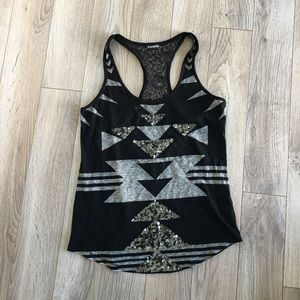 Express lace back sequin tank S