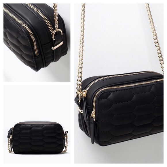 Zara Bags Quilted Crossbody Bag With Chain Black Gold Poshmark