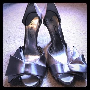 Lulu Townsend Shoes - Silver Satin Bow Heels