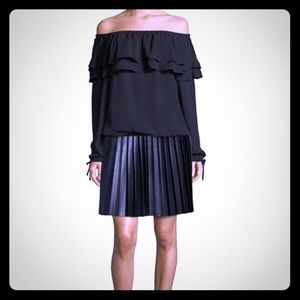 HP⭐️MICHAEL KORS BLACK MICRO-pleated BLK skirt L