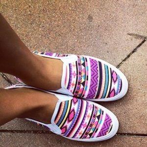 Boutique Shoes - Chevron Tribal Print Slip On Espadrille