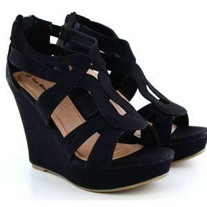 Shoes - Black Strap Wedges