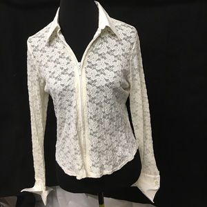 CAbi Jackets & Blazers - CAbi Zippered Lace Cover-up/Jacket Size XL