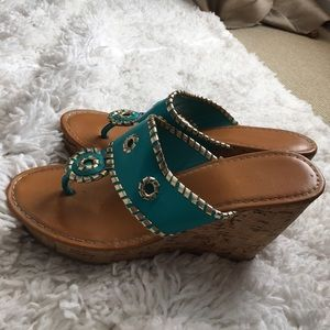 Turquoise Wedges Size 7.5