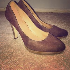 FIONI Clothing Shoes - Brown Suede Heels