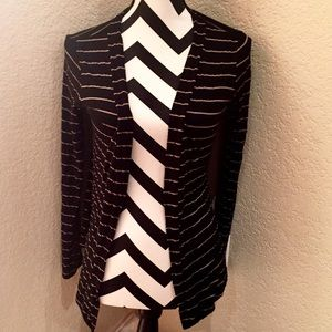 DNA Couture Sweaters - BLACK & TAN STRIPED CARDIGAN