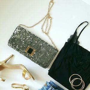 Handbags - Sequin & Metallic Pewter Shoulder Bag / Clutch