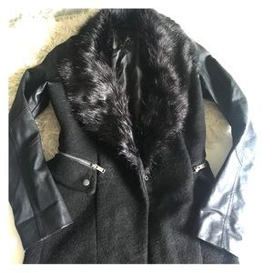 Primark Jackets & Blazers - Primark Faux Leather Fur Trim Mixed Media Coat