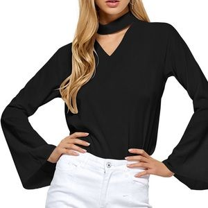 Missguided Tops - Choker neck flare sleeve blouse