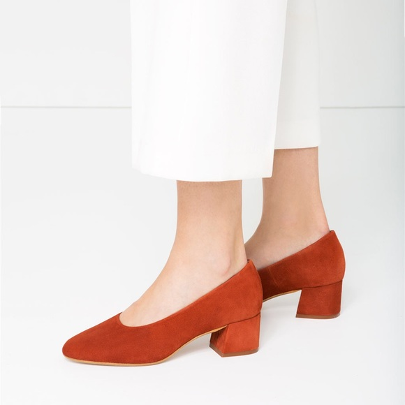 61c8d18f13c NWT ZARA LEATHER SUEDE RED BLOCK HEELS SHOES NWT