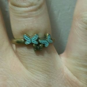 Jewelry - Turquiose and gold butterfly rings