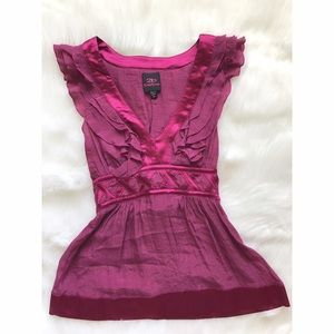 bebe Tops - BEBE FUCHSIA CRISSCROSS RUFFLED TIE TOP