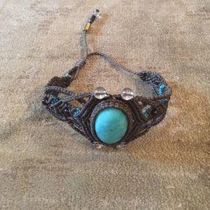 Boho look...Cuff bracelet with turquoise stone