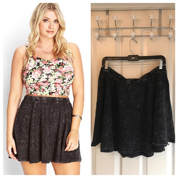 80bc569105d Forever 21 Dresses   Skirts - Plus Size Black Mineral Wash Skater Skirt