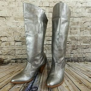 Silver Leather Cowboy Boots