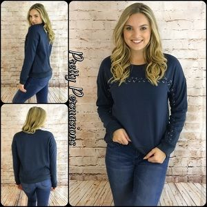 """Pretty Persuasions Sweaters - NWT """"Lace Me Up"""" Long Sleeve Indigo Sweater"""