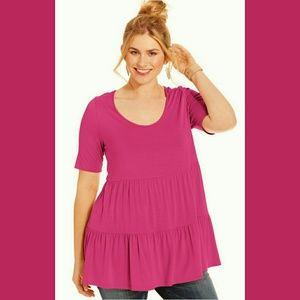 Soprano Tops - HP SOPRANO babydoll tiered pink blouse shirt