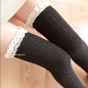 HUE Accessories - Cable Knit Lace Over The Knee Socks Thigh High OTK