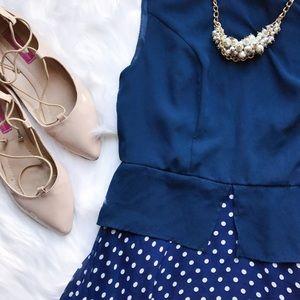 Dresses - Blue Polka Dot Dress🎀