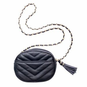 NWOT Black Quilted Tassel Crossbody Bag