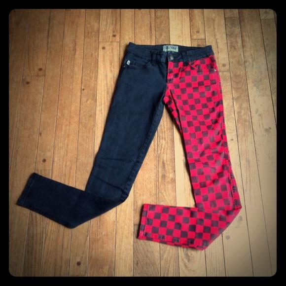 48736455c363 Royal Bones black & red split leg checkered jeans.  M_58b1e2685c12f89007012ef9