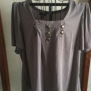 Apostrophe Tops - Grey Short Sleeve Blouse
