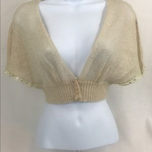 Betsy Johnson Tan Sweater Crop Cardigan Lace