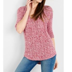 Express London Tunic Cable High Low Sweater