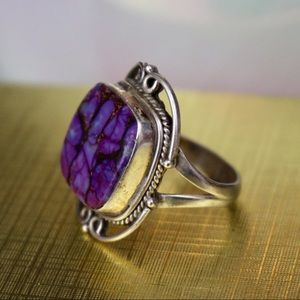 ⬇Vintage Sterling Silver Purple Square Ring