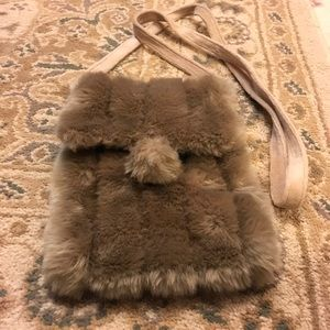 Tan furry cross body purse