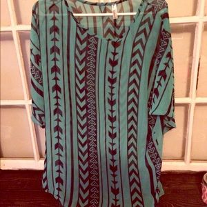 Tops - Turquoise and black Aztec print tunic